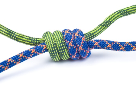unity is strength: Rope for mountaineering. Grapevine knot isolated on white