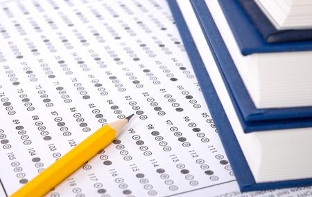 Test scorekaart met antwoorden Stockfoto