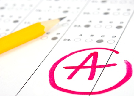 academic achievement: School and Education. Test paper with result