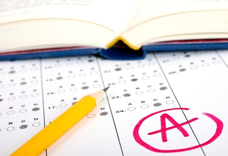 choose university: School and Education. Test score sheet with answers Stock Photo