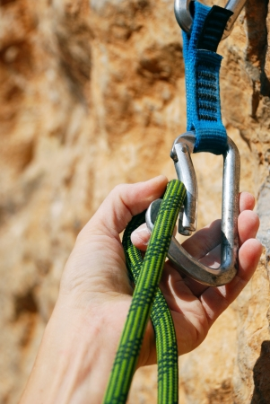grip: Extreme sport  Rope for climbing and quick-draws Stock Photo
