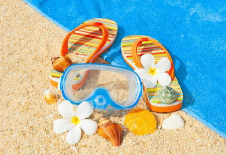 Seashells, diving mask and sandalls on the beach Stock Photo - 18570800