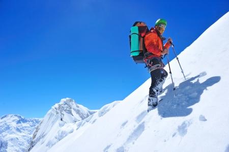 climber: wandelaar in de bergen
