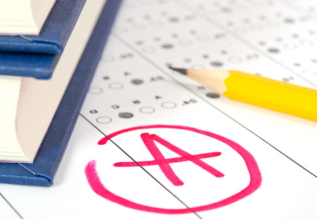 School and Education  Test paper with result Stock Photo