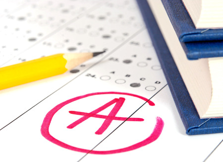 School and Education. Test paper with result photo