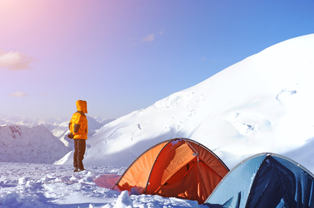 polar life: Climber stay near with tents