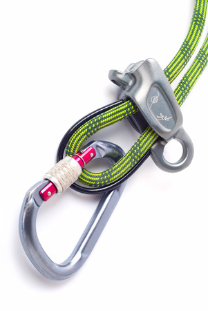 rapell: Climbing equipment - carabiner and rope