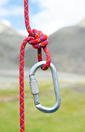 carabiner: Climbing equipment - carabiner and rope