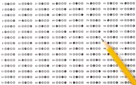 multiple choice: School and Education. Test score sheet with answers Stock Photo