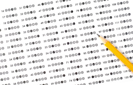 eraser mark: Test score sheet with answers