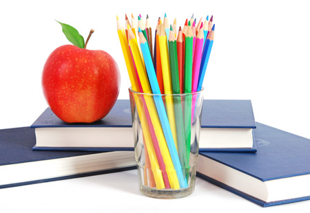pencil holder: Back to school concept on grunge background Stock Photo