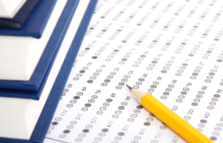 answer: Filled answer sheet with eraser focus on pencil
