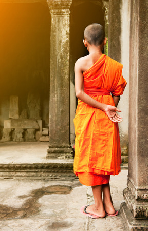 buddhist structures: Monk in the Cambodian temple Stock Photo