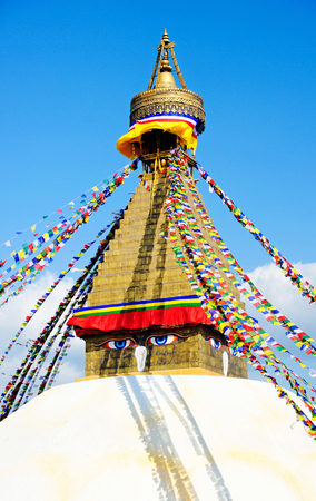bodnath: Tibetan flags in Boudhanath Stupa, Nepal