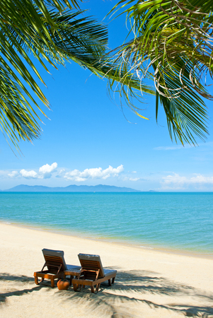 paradise beach: Chairs on the beautiful sandy beach near sea