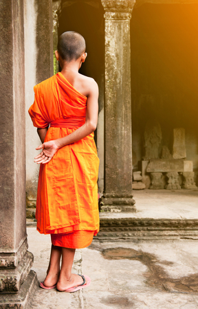cambodian: Monk in the Cambodian temple Stock Photo