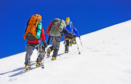 klimmer: Groep van wandelaars in de bergen Stockfoto