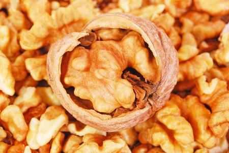 heap: Heap of Pecan nuts pile Stock Photo