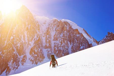 Wandelaar op de trek in Himalaya