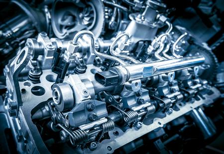 Close up shot of car engine. Automobile accessories concept 스톡 콘텐츠