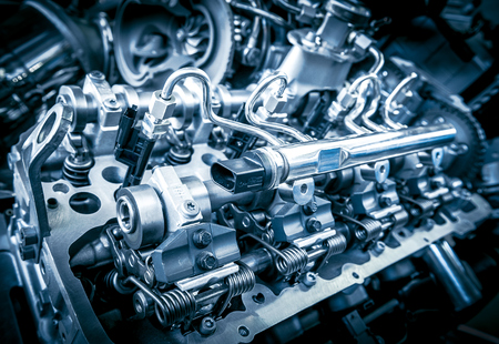 silver plated: Close up shot of car engine. Automobile accessories concept Stock Photo