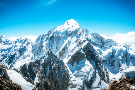 Snowy mountain peak Everest. National Park Nepal.