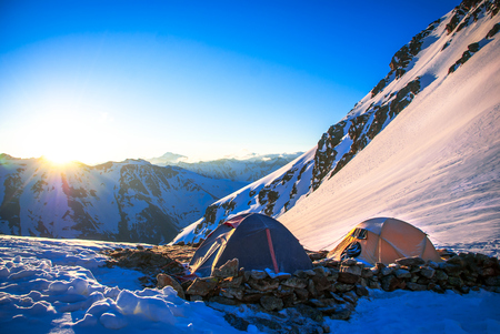 Expedition camping in tent on Mount Everest. Extreme sport concept