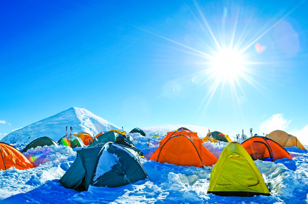 Expedition camping in tent on Mount Everest. Extreme sport