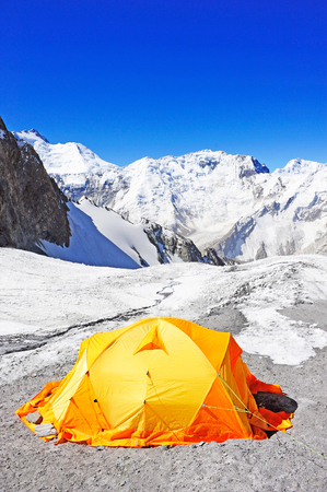 sherpa: The tent of Everest Base Camp Stock Photo