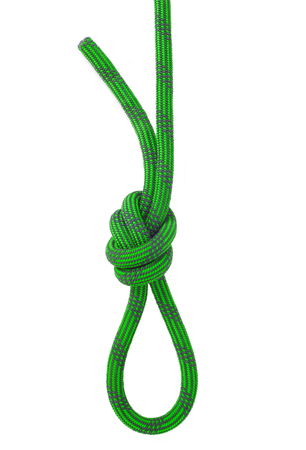 Knot for climbing isolated on white background Stock Photo
