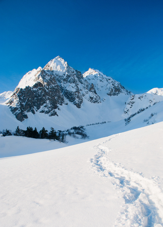 Mountain peak Everest. Highest mountain in the world. National Park, Nepal. Stock Photo