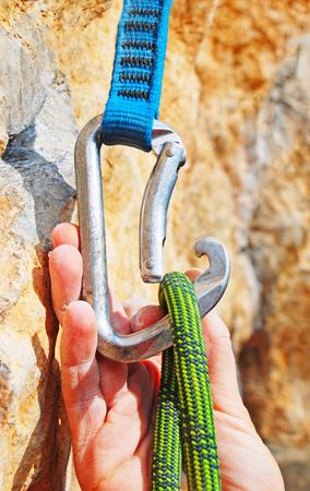 rockclimbing: Climbing equipment - rope, carabiner