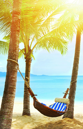 Beautiful beach. Hammock between two palm trees on the beach. Holiday and vacation concept. Tropical beach. Beautiful tropical island. Stock Photo - 87128528