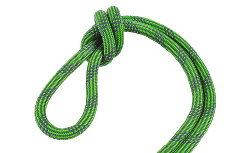 to incorporate: Climbing rope knot isolated on white background