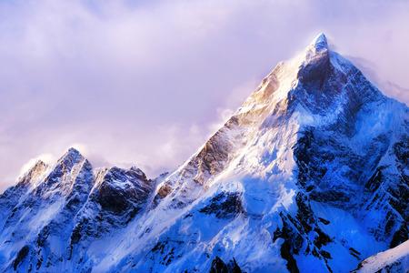 エベレストの山頂。世界で最も高い山。国立公園、ネパール。 写真素材