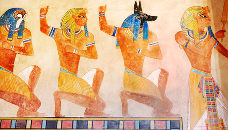Ancient Egypt scene, mythology. Egyptian gods and pharaohs. Hieroglyphic carvings on the exterior walls of an ancient temple. Egypt background. Murals ancient Egypt.