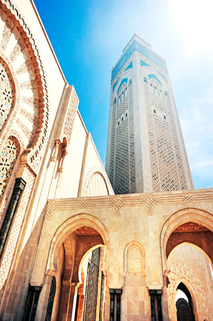 View of the mosque of Hasan II in Casablanca, Morocco. Stock Photo