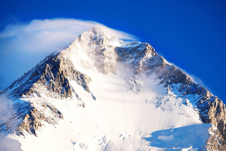 Mountain peak Everest. Highest mountain in the world. National Park, Nepal. Stock Photo