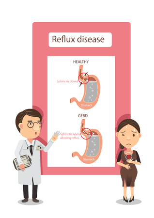 Doctor explained to women with heartburn. Diagram showing gastric reflux. Infographic vector illustration.