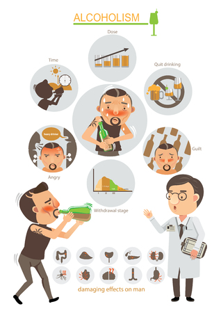 Alcoholism info graphic.Vector illustration.