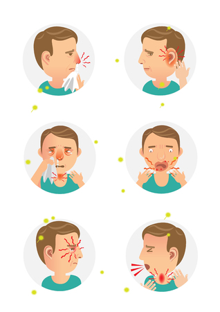 Allergic symptom sick man. cartoon vector illustration