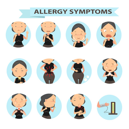 Patients with symptoms of her woman vector illustration.