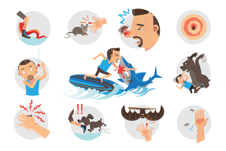 Animal Bites Wild Animal Attacking Hurting Human.Cartoon vector, illustrations