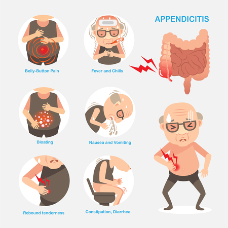 Appendicitis digestive organs, Causes and symptoms of appendicitis. Vector cartoon illustration. Vettoriali