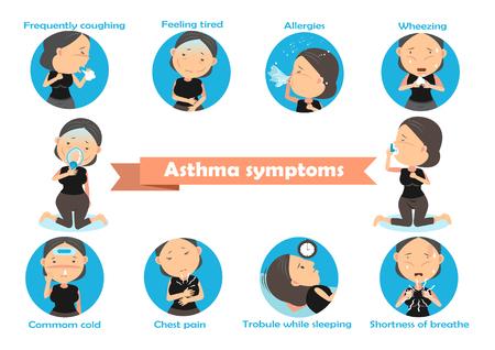 Woman having asthma using the asthma inhaler . Vector Illustration.
