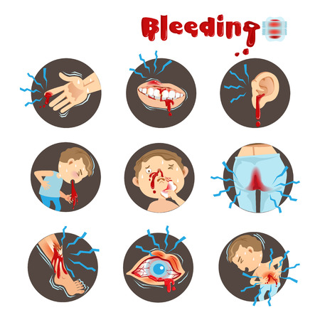 Cartoon bleeding in a circle on a white background. Vector illustration.