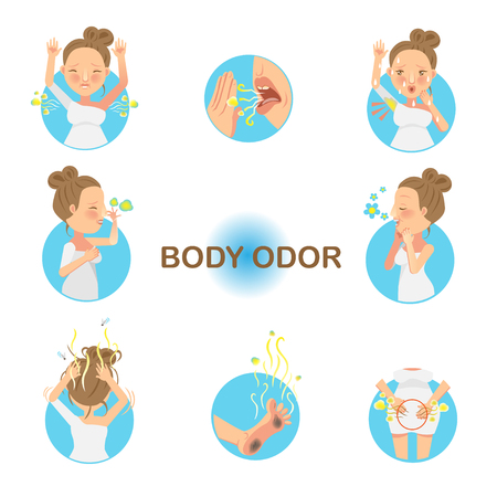 Women who have had body odor. Vector illustration.