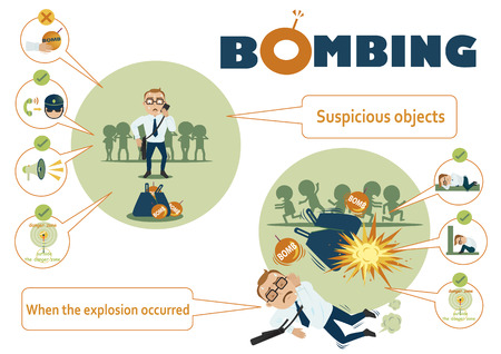 Bombings hows life on the bombings infographic. Vector illustration