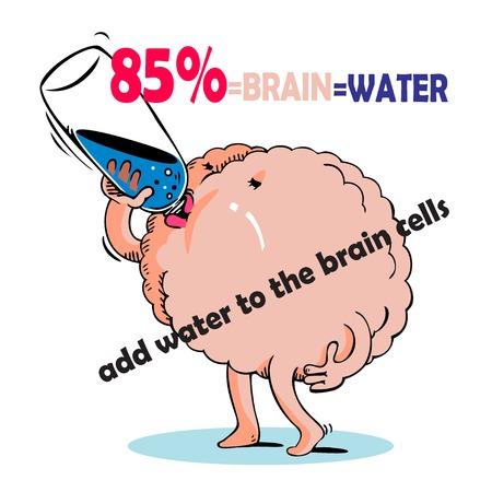 Vector hand drawn cartoon brain stood drinking water.