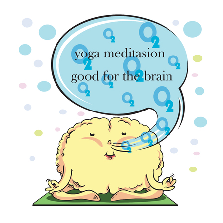 Brain on yoga Meditation Cartoon vector stripes